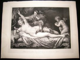 After Antony van Dyck C1840 LG Folio Print. Danae & Jupiter Nudes, Mythology